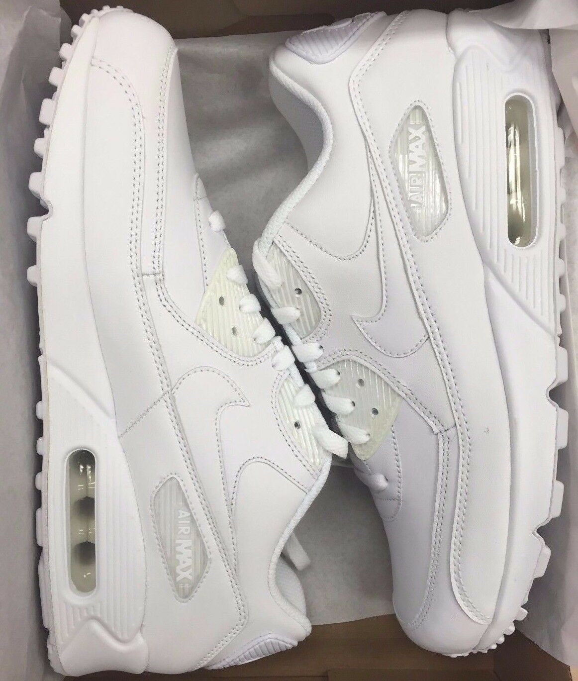 bb9af7755f961c Nike Air Max 90 Leather White   White 302519-113 Men s 8-12 well ...