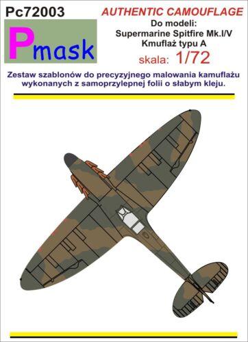 SPITFIRE MK.I//II//V TYPE A CAMOUFLAGE PAINTING MASK #PC72003 1//72 PMASK