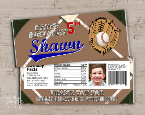 Baseball Candy Bar Wrappers 12 Sports Birthday Party Baby Shower Favors