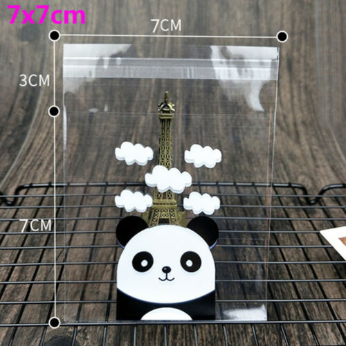 100PCS Cute Panda Plastic Candy Bags Clear Self-adhesive Party Gift Bags