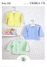 Baby Round /& V-neck Pretty Cardigans DK KNITTING PATTERN 0-6yrs UKHKA19
