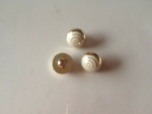10X//12mm APROX GOLD SINGLE SHANK  BUTTONS WITH WHITE AND GOLD PATTERN ON FRONT