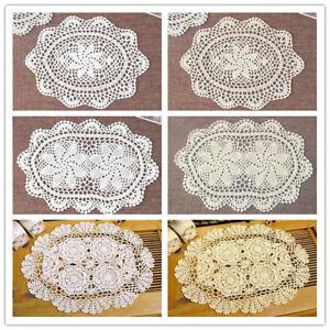 Oval-Placemat-Table-Place-Mat-Vintage-Hand-Crochet-Cotton-Lace-Doilies-Floral