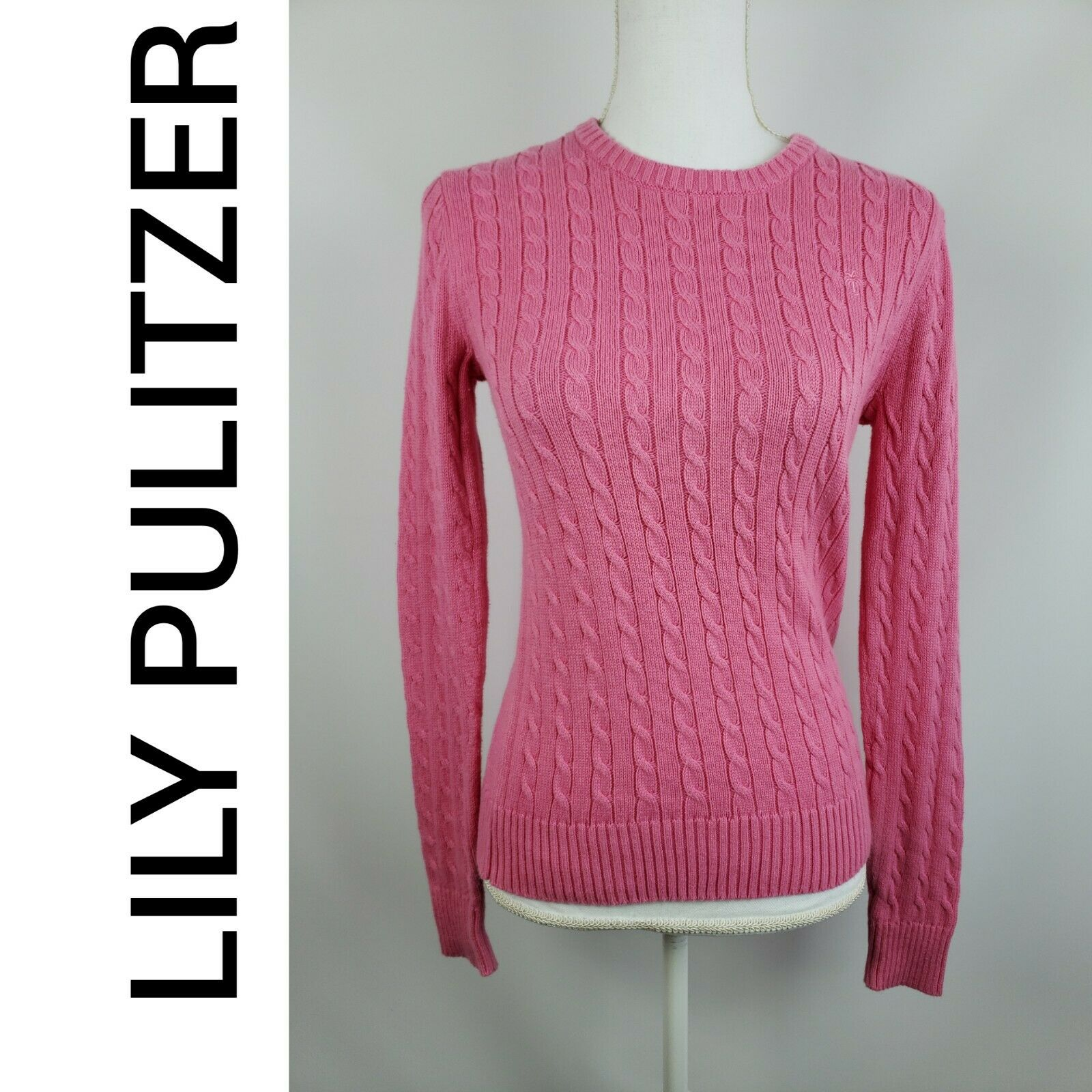 Lily Pulitzer Women's 100% Cotton Sweater Long Sleeve Pink Size Small