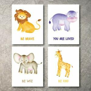 Details About Nursery Decor Safari Wall 4 Animal Pictures Designs Prints 11x14 Baby Room