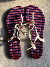 Tommy Hilfiger Women's Shoe 10 Red & White Man-made Flip Flops Medium Plastic