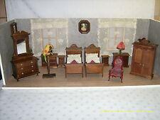 Möbel Puppenstube, Original Puppenschlafzimmer im Gründerzeit-Stil von Dora Kuhn