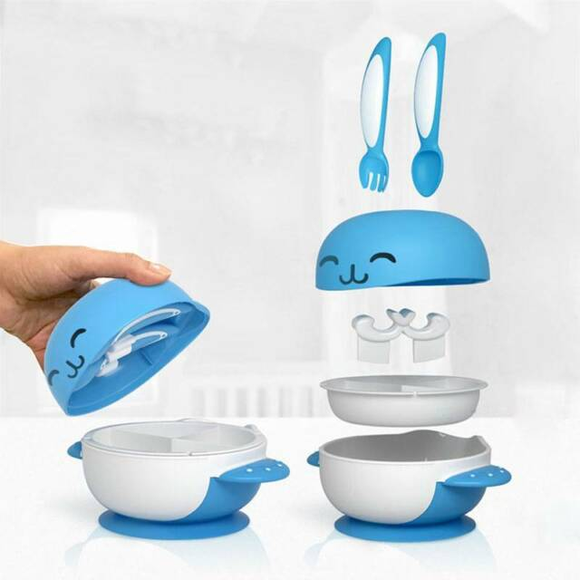 6pcs/sets Baby Toddler Training Slip Resistance Sucker Bowl with Spoon Fork T