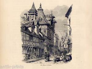 Adroit Rouen-gravure Sur Bois De 1870-afficher Le Titre D'origine Douceur AgréAble