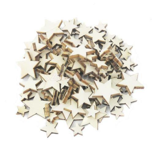100pcs Wooden Blank Small Star Shapes Embellishments Crafts Scrapbooking JS