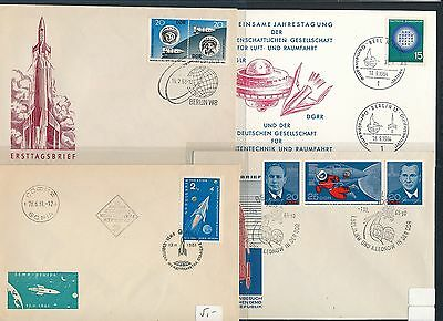 Years 195x 4 Diff Weltraum Space Raketen Logisch 01857 Cds / Covers / Fdc 196x