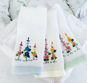 Vintage-Linen-Tea-Towels-Set-of-3-Hand-Stitched-with-Flowers-Blue-Green-amp-Yellow