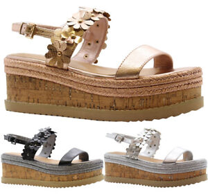 Ladies-Womens-Flower-Cork-Wedge-Espadrilles-Platform-Flatform-Sandals-Shoes-Size