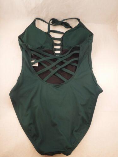 Women/'s La Blanca Island Goddess Keyhole Halter 1pc Swimsuit Sz 10 Green Caged
