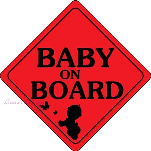 "Baby on board Car Sticker Decal Vinyl size 6.9/"" X 6.9/'/' Orange White Red Canada"