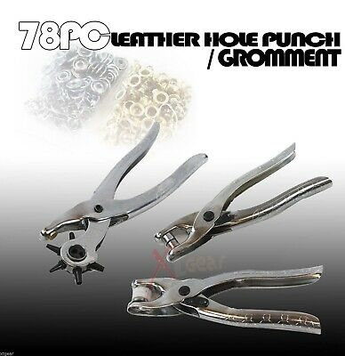 New 78pc Rotary Leather Hole Eyelet Snap Punch Pliers w// Grommets Repair Tools