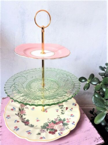 Cake stand fittings x5 Sets silver heart head for 3 tier stands with fixings New