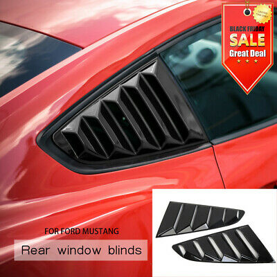 POWLAB 2PCS Quarter Side Window Scoop Louvers Cover Black Visor Cover Sun Rain Shade Vent for Ford Mustang 2015 2016 2017 2018