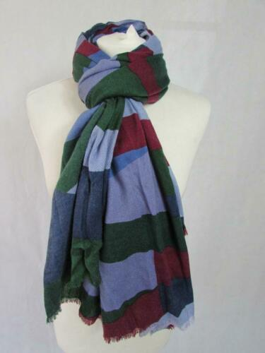 MARKS /& SPENCER Green Blue Burgundy Mix Lightweight Scarf Wool Mix BNWT RRP£22.5