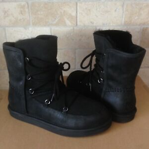 3219b60db93 Details about UGG LODGE BLACK WATER-RESISTANT SUEDE SHEEPSKIN LACE-UP BOOTS  SIZE 11 WOMENS