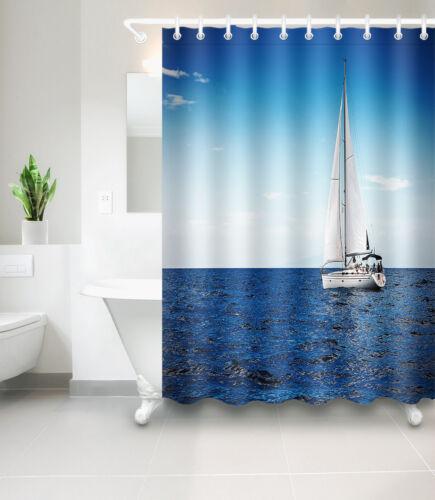 Ocean sailboat Fabric Bathroom Waterproof Shower Curtain 12 Hooks /& Mat 6546