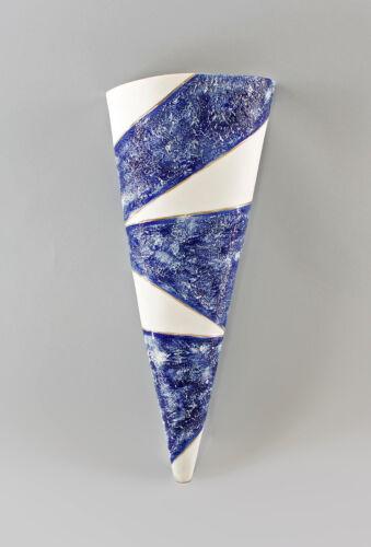 9997065 Ens große Porzellan Wandvase modern blau H39cm