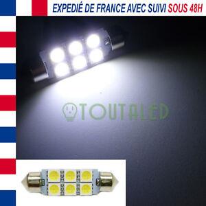 AMPOULE LAMPE NAVETTE C10W 42MM 12V 6 LED 5050 BLANC XENON INTERIEUR PLAQUE