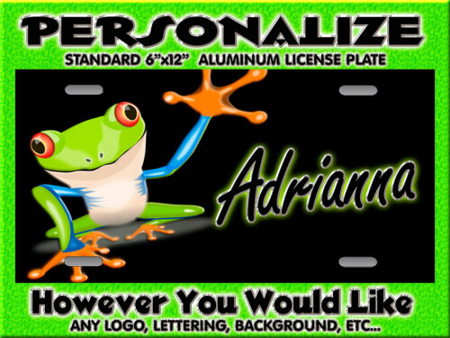 FROG Crazy Cartoon Silly 2  Background PERSONALIZED Monogrammed License Plate