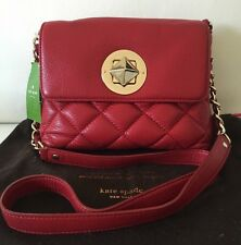 NWT KATE SPADE Gold Coast scarlet Quilted Red Leather Chain Handbag Purse $295
