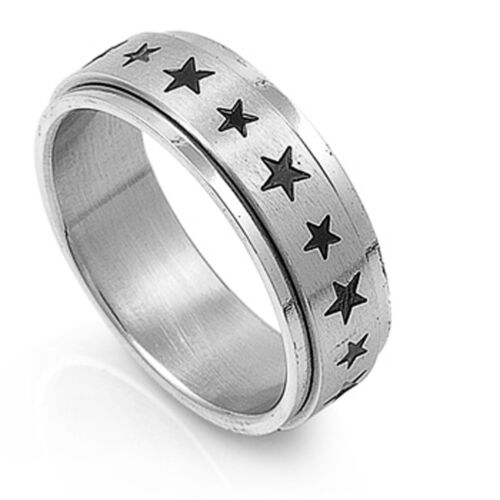 Men/'s Spinner Star Ring Unique Polished Stainless Steel Band New USA Sizes 8-14