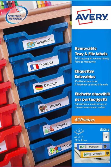 picture about Removable Printable Labels referred to as Avery E3214 Printable Tray and Record Labels With Detachable Adhesive 115 X 35 Mm