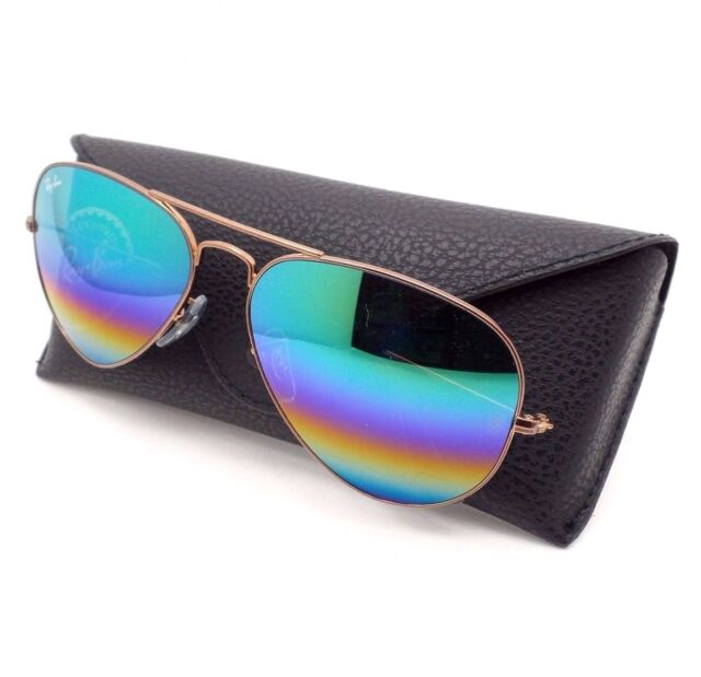 ed6c08bedc Ray Ban Aviator 3025 9018 C3 58 Med Bronze Rainbow Mirror New Authentic  Sunglass