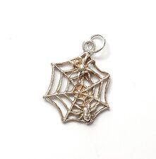 Vintage 925 Sterling Silver SPIDERWEB SPIDER & WEB Charm Pendant 1.3g