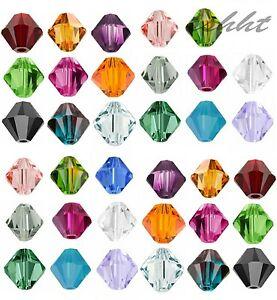 100-Stueck-4mm-Glasslperlen-Kristall-Glasschliffperlen-BICONE-Rhomben-Perlen-Lots