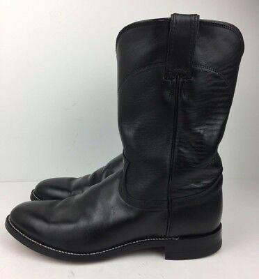 9ec156ffa12 Justin Boots 3133 Men's Jackson Roper Western Black Leather Cowboy ...
