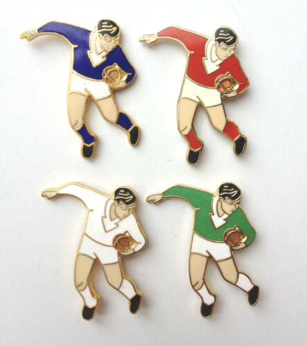 SET OF 4 RUGBY LEAGUE UNION, FOOTBALLER ENAMEL LAPEL PIN BADGES