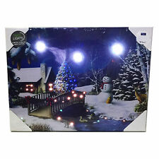 Christmas Tapestry Santa Scene Fiber Optic Lights Wall Hanging Battery Snow b