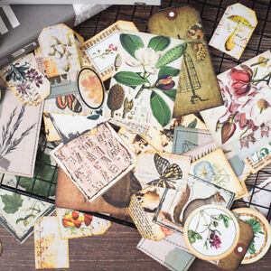 Retro-Gross-Pflanze-Tags-Stickers-Scrapbooking-Junk-Journal-DIY-Making-Material