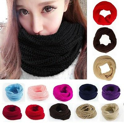 Fashion Ladies Women Wool Knit Winter Warm Knitted Neck Circle Cowl Snood Scarf!