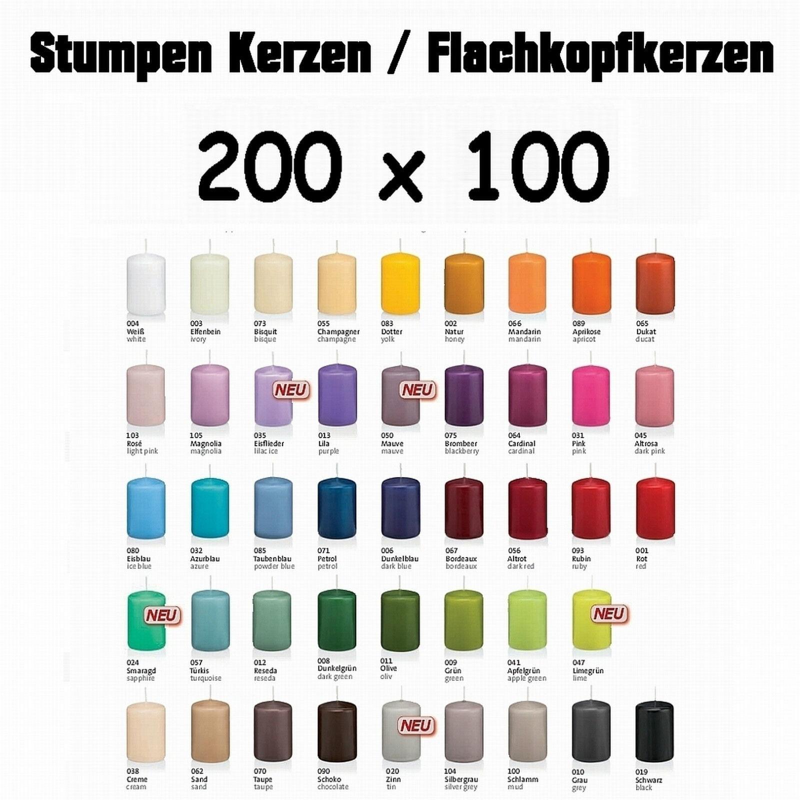 6x Kerze 20x10cm RAL Qualität   Stumpen von Kerzen Wiedemann   neue Farben 2017