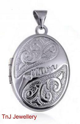 """NEW Genuine Solid 925 Sterling Silver """"Mum"""" Scroll Embossed Photo Mother Locket"""