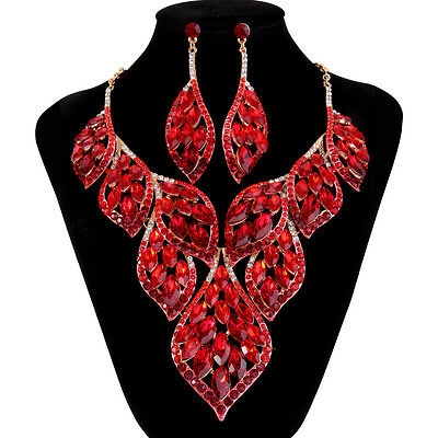 Lots Leaf MQ Red Austrian Crystal Statement Necklace Earrings Set Gold GP Women