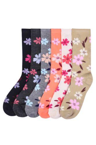 Lot of 6 Pairs Women Ladies Girls Long Crew Floral SCATTER Pattern Socks 9-11