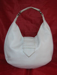 95d03670c4 STUNNING DESMO MADE IN ITALY WHITE HOBO STYLE LEATHER HANDBAG PURSE ...