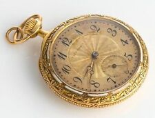 Antique TIFFANY & CO. 18K GOLD POCKET WATCHEnamel Detail to Front