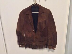 Vintage-1970s-Western-Leather-Women-039-s-Small-Fringe-Jacket