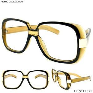 Classic-Vintage-Retro-Style-Lensless-Eye-Glasses-Large-Square-Frame-Only-NO-Lens