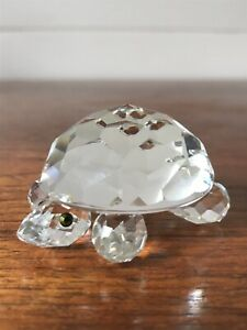 Vintage-Swarovski-Endangered-Species-Crystal-Turtle-Green-Eyes-Figurine-Retired
