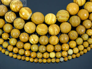 Natural-Wood-Grain-Jasper-Gemstone-Faceted-Round-Bead-15-039-039-4mm-6mm-8mm-10mm-12mm