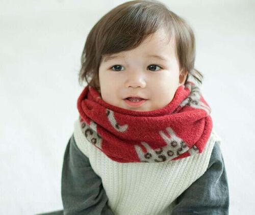 Kids Children Toddler Boy Girl /'Little People/' Knitted Warmer Animal Scarf Snood